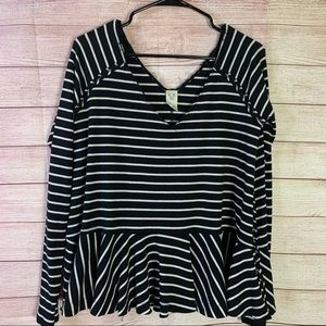 We the Free by Free People Striped Peplum Shirt SM